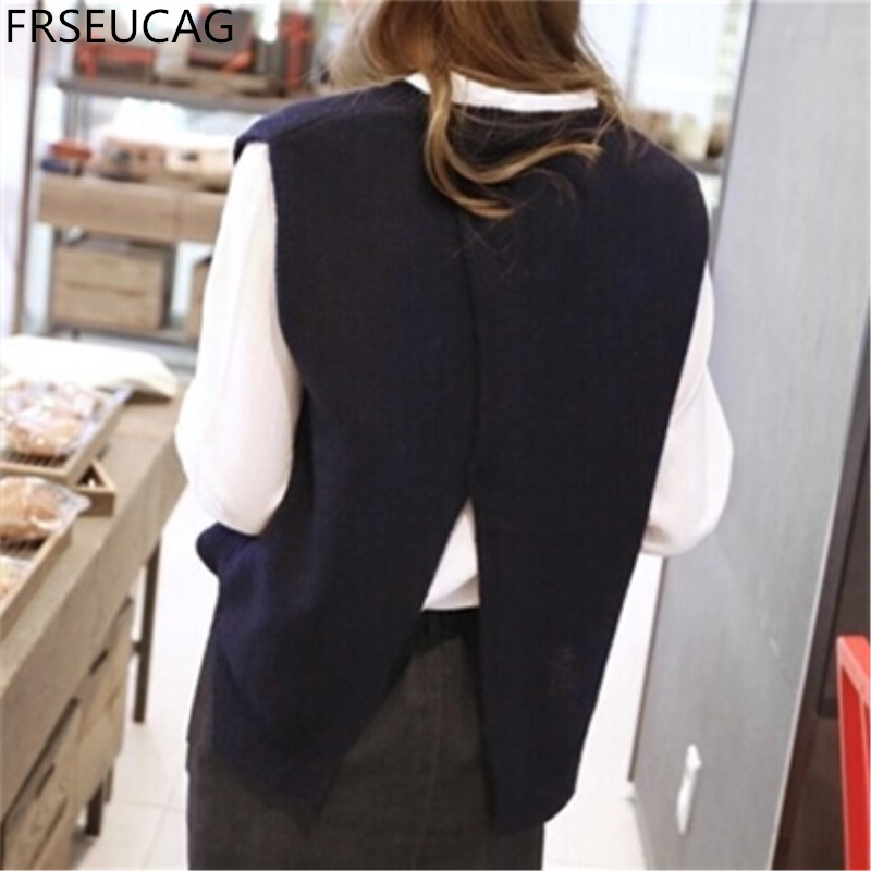 FRSEUCAG 2017The new cashmere vest back to open the knit vest woman round neck loose jacket sweater coat waistcoat
