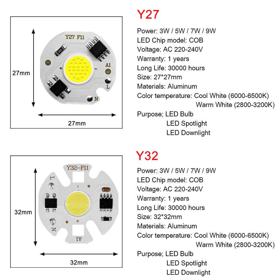Dioda LED COB Chip AC 220V 3-9W 10W 20W 30W 50W dla prostokątnej lampy światła Matrix ampułka reflektor Y27 Y32 nie potrzebuje sterownika Led