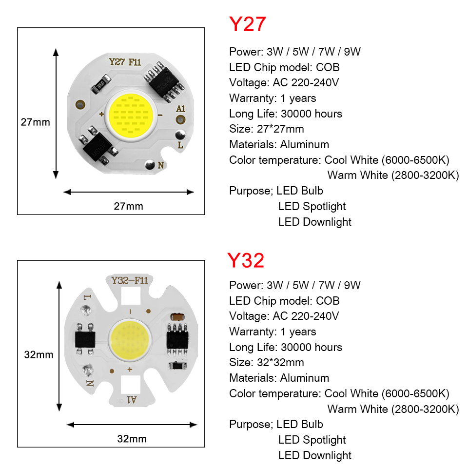 Image 4 - LED COB Chip Diode AC 220V 3 9W 10W 20W 30W 50W For Rectangular Light Matrix Lamp Ampoule Spotlight Y27 Y32 Not Need Driver Led-in LED Chips from Lights & Lighting