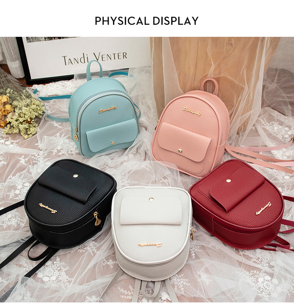 HTB1O.7KXBWD3KVjSZKPq6yp7FXai 2019 Mini Backpack Women Korean Style PU Leather Shoulder Bag For Teenage Girls Multi-Function Small Bagpack Female Phone Pouch