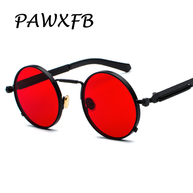 033a9d74057 Pop Age 2018 Newest Round Steampunk Sunglasses Women Men Coating Mirror  Spring legs Sun glasses Vintage Red Oculos de sol 400UV