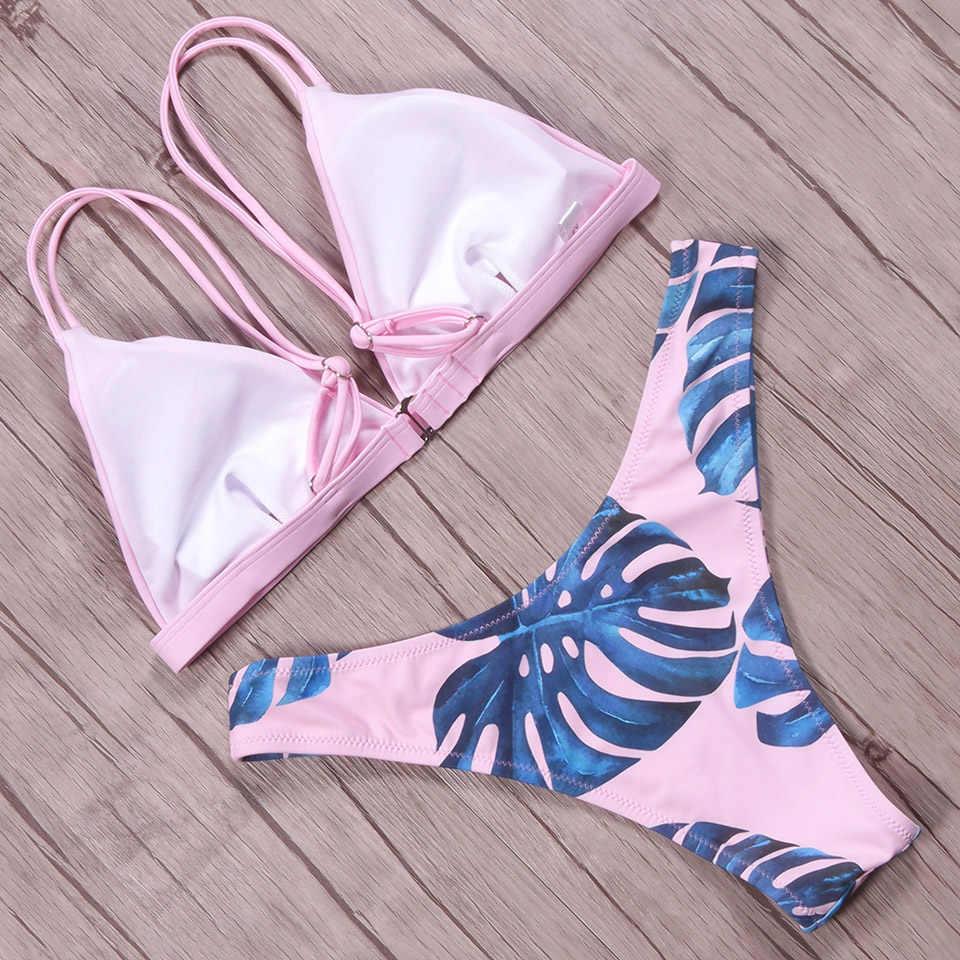 NAKIAEOI Sexy Brasiliano Bikini Delle Donne del Costume Da Bagno 2019 Imbottito Beach Wear Halter Bikini Set Push Up Costumi Da Bagno Costume Da Bagno di Nuoto
