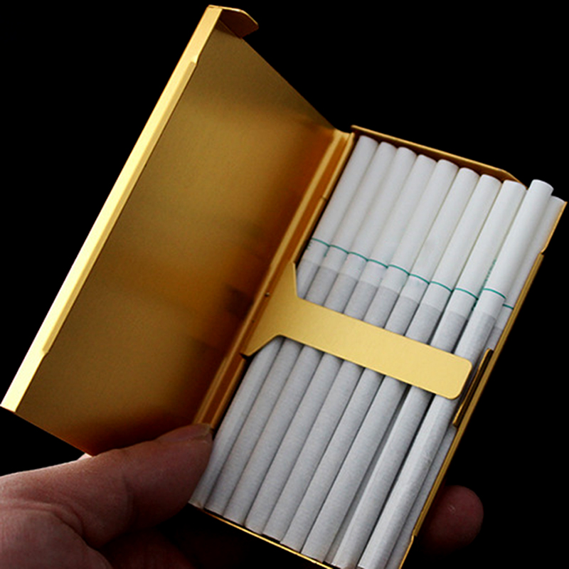 20 Sticks Thin Fashion Pipe Creative Personality Cigaret Case Slim Lady Metal Cigarette Case Cigarette Box XN253