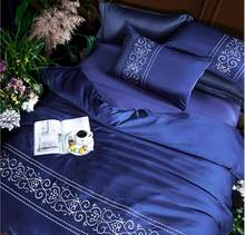 Royal blue Embroidered duvet/quilt cover bed sheet set king queen size 4pcs Solid Color Silky Satin bedding sets home textile