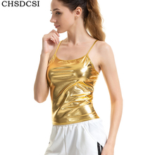 CHSDCSI Ladies Street wear Crop Top Strap Bodycon PU Tops Gold Skinny Camis Summer Vest Women Leather Club Tanks Tees