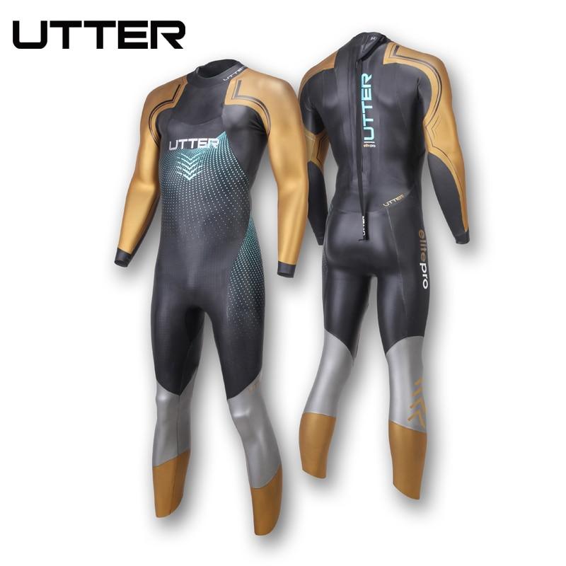 b87c82670e8 UTTER Elitepro Men's Gold SCS Triathlon Suit Yamamoto Neoprene Swimsuit  Long Sleeve Surfing Wetsuit Swimming Suits for Swimwear