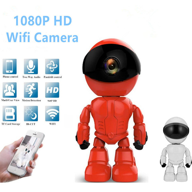 1080P HD Network IP Camera Two way Audio Wireless Camera Night Vision Motion Detection Camera Robot