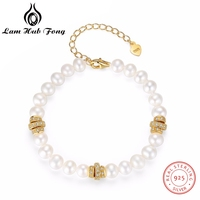 Genuine 100% Real Natural Freshwater Pearl Bracelet 18K Gold Jewelry 925 Sterling Silver for Women Free Shipping Best for Love