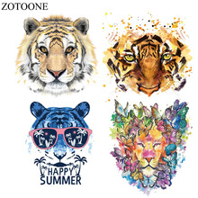 ZOTOONE Colorful Tiger Patches Iron On Transfers Patch For Clothes 27*22cm A-level Washable Ironing Stickers Print T-shirt E