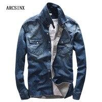 ARCSINX Vintage Denim Shirt Men With Long Sleeve High Quality Cotton Fashion Autumn Jeans Man Shirts Casual Basic Chemise Homme
