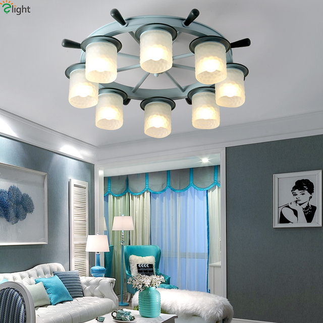 Modern Metal Rudder Led Ceiling Lamp Fixtures Novelty Frosted Glass Bedroom Light Luminaria