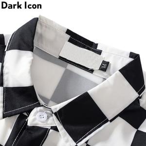 Image 3 - Dark Icon Interesting Print Plaid Men's Shirts 2019 Autumn Oversize Long Sleeved Checkered Shirts Streetwear Hipster Shirts