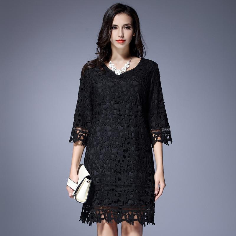 Ženska črna čipkasta obleka L-5XL modna votla V-izrez 7/10 rokavov plus velikosti ohlapna enodelna obleka ženska spomladanska in jesenska oblačila