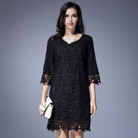 L-5XL Women Black Lace Dress Fashion Hollow V-neck 7/10 Sleeve Plus Size Loose One Piece Dress Female Spring And Autumn Clothing