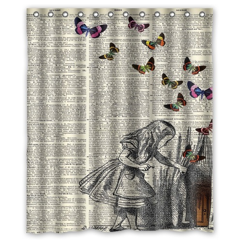 Free Shipping European Style Bath Curtain 152x182cm Cartoon Alice In Wonderland Bathroom Shower Fabric With 12 Hooks Curtains From Home