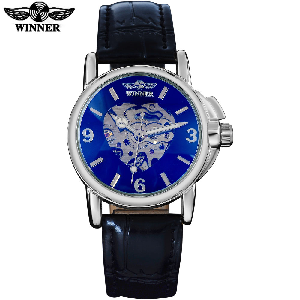 2016 WINNER famous brand women watches fashion automatic self wind watch skeleton dial Arabic numbers silver case leather band2016 WINNER famous brand women watches fashion automatic self wind watch skeleton dial Arabic numbers silver case leather band