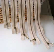 10pcs Meetee Metal Zippers Pure Copper 12cm-40cm Khaki 3# Close-end Zips for Sewing Down Jacket Bags Jeans Clothing Accessories