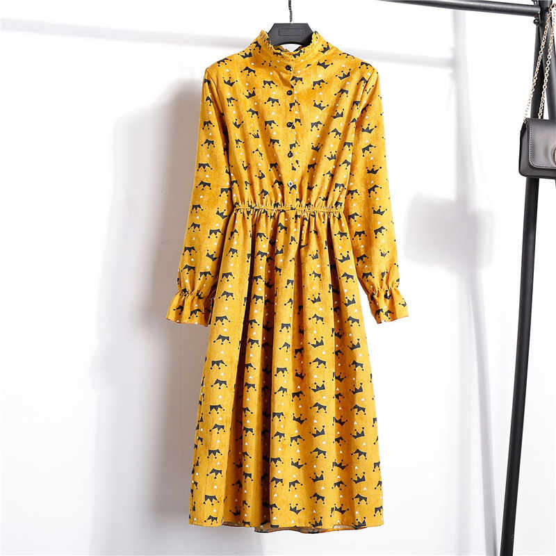 Весенне-осеннее вельветовое платье с высокой эластичной талией, винтажное платье трапециевидной формы, женское платье с длинным рукавом, платье в клетку с цветочным принтом, приталенное, 27 цветов