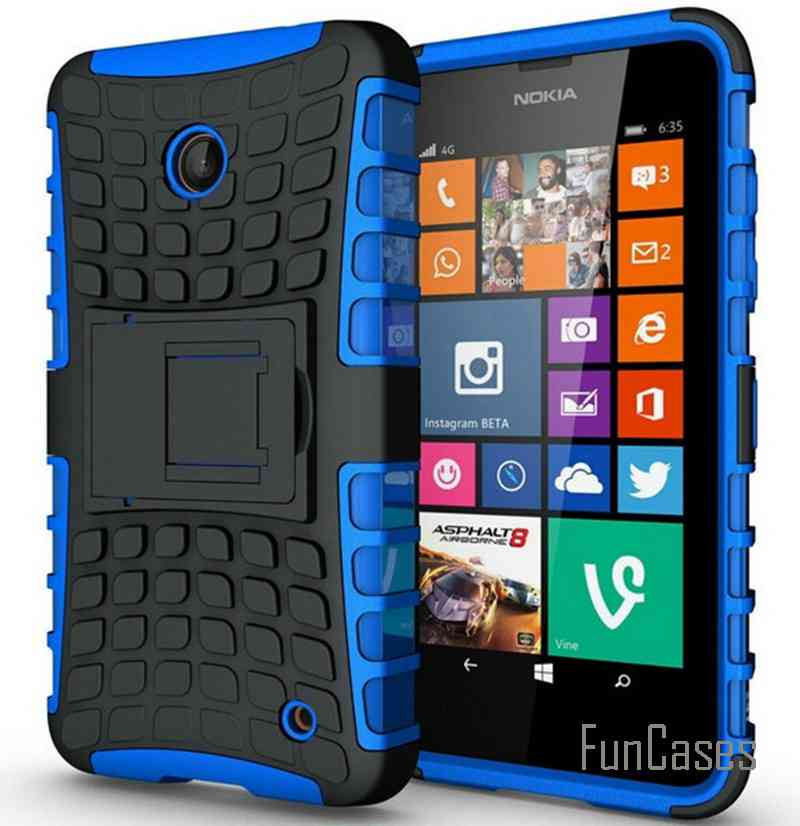 For Nokia Lumia 635 Case 636 638 N630 N635 Heavy Duty Armor Shockproof Hybrid Hard Rugged Rubber Phone Cover 630 In Half Wred From
