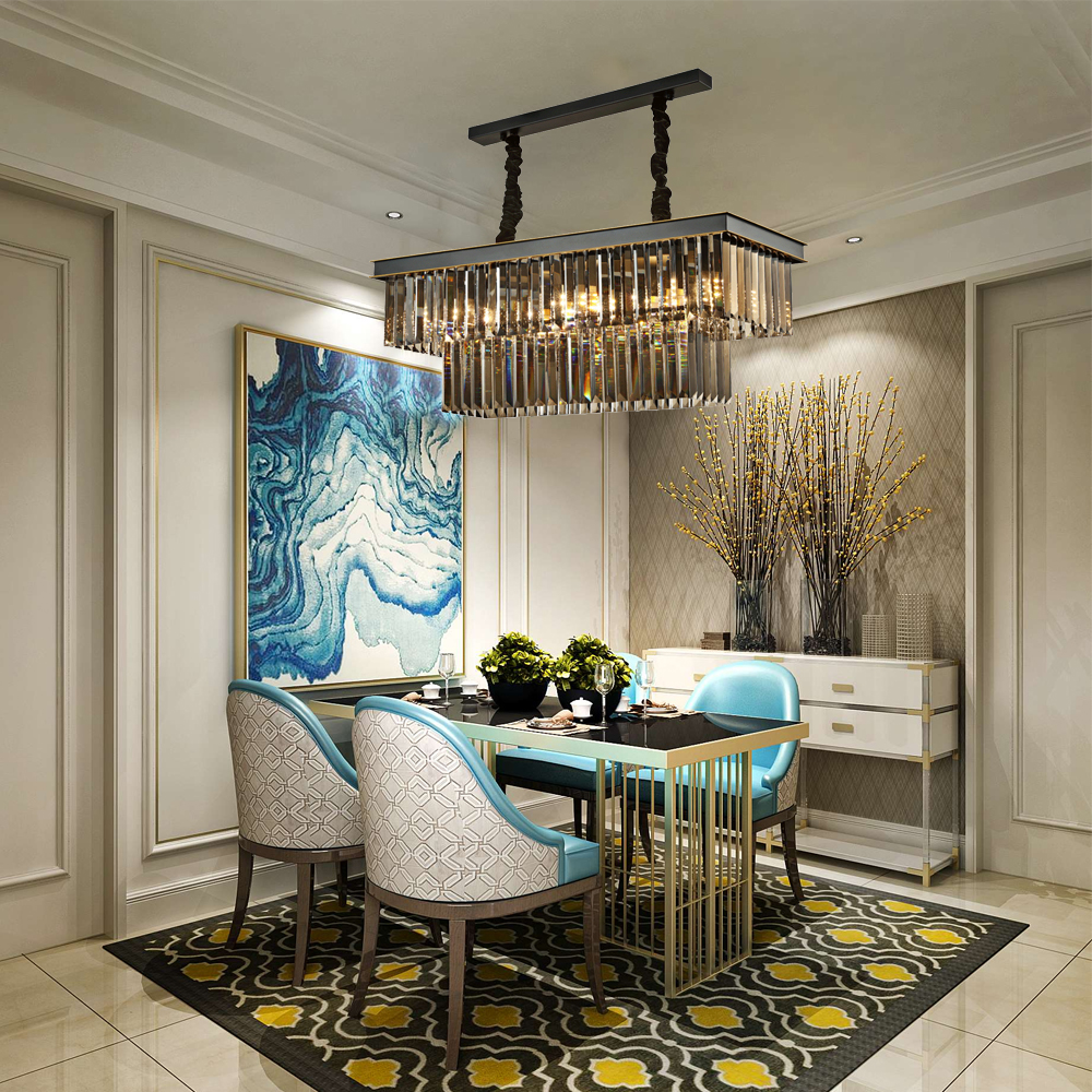 2018 Modern Luxury Rectangle LED Chandelier Light For Dining Room Lobby Hanging Smoky Gray Home Lighting Lustres De Cristal