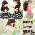 2014 spring Baby girl suit kids children 3 pc set necklace + t shirt + skirt bow girl clothes 1223 sylvia 1258561520
