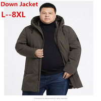 plus size 10XL 9XL 8XL 6XL men's white goose down jacket business fashion casual long down Jacket winter thickening outerwear