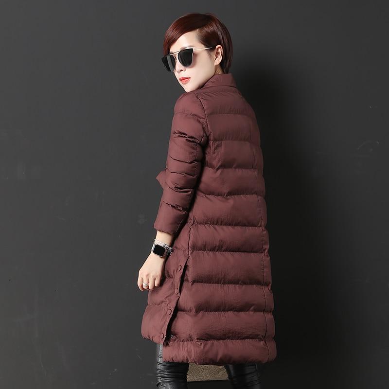 2018 Coton breasted Femmes Coréen De Long Black Manteau Parkas Double red Costume Outwear Veste Nouvelles Bouton Automne Hiver Mode Col rBwp01qr