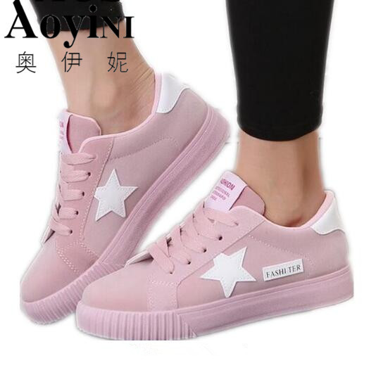 ff474ff933f86 2018 Mulheres Malha Respirável Zapatillas Zapato Sapatos Mulheres Sapatos  Casuais Lace Up Branco vestido de Mulher