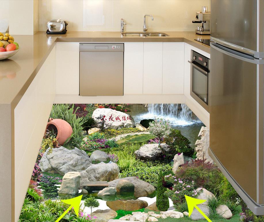 ФОТО Customize 3D flooring tiles carp falls 3d flooring pvc waterproof thickened self-adhesive plastic flooring rolls