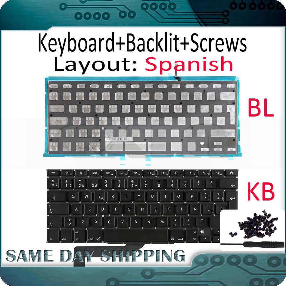 A1466 Canadian French Keyboard+Backlight+Screws For MacBook Air 13/'/' 2012-2017