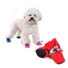 4 Шт./компл. Зима Теплая Толстый Щенок Обувь Для Собак Обувь Непромокаемые Сапоги Дождь Pet Products Одежда Для Собак Комнатные Туфли