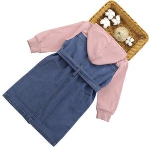 Image 2 - Dresses For Girls 2020 Spring Denim Patchwork Dress Hooded Girl Full Sleeve Party Dress Teenage Girls Clothing 6 8 10 12 13 Year