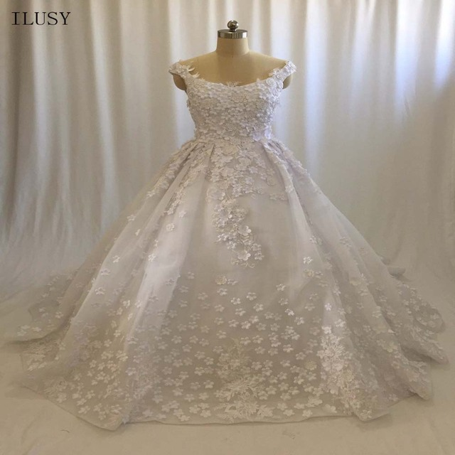 56cdeb69 ILUSY Gorgeous Lace 3D-flora Appliques Wedding Dresses Sleeveless Ball Gowns  Pleated Overskirt Bridal Gowns Vestidos de noiva