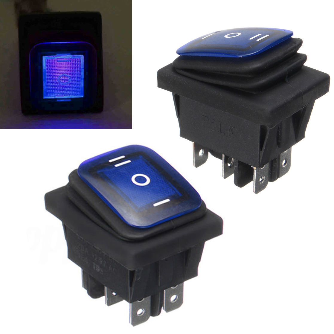 цена на Green / Blue / Red Rocker Power Switch On-Off-On 6 Pin 12V DC Mayitr Car Boat LED Latching Waterproof Toggle Switches