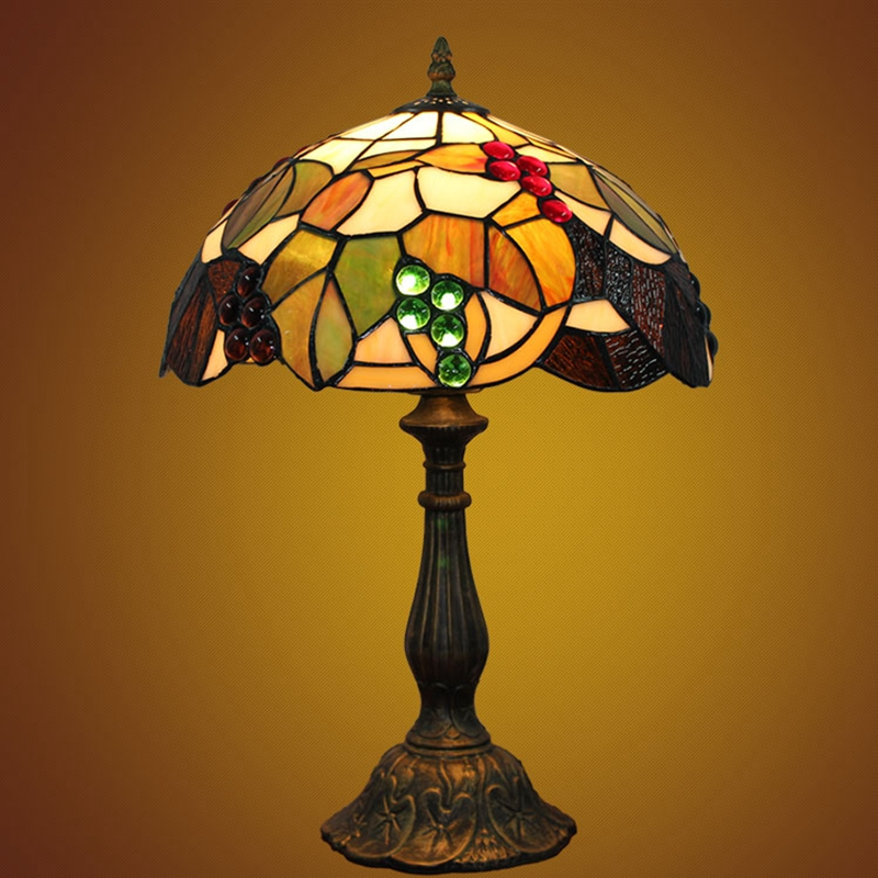 ODIFF European style retro pastoral grape Bedroom bedside Decorative lamp American Vintage Study Bar Desk Lamps 110-240V E27 LED