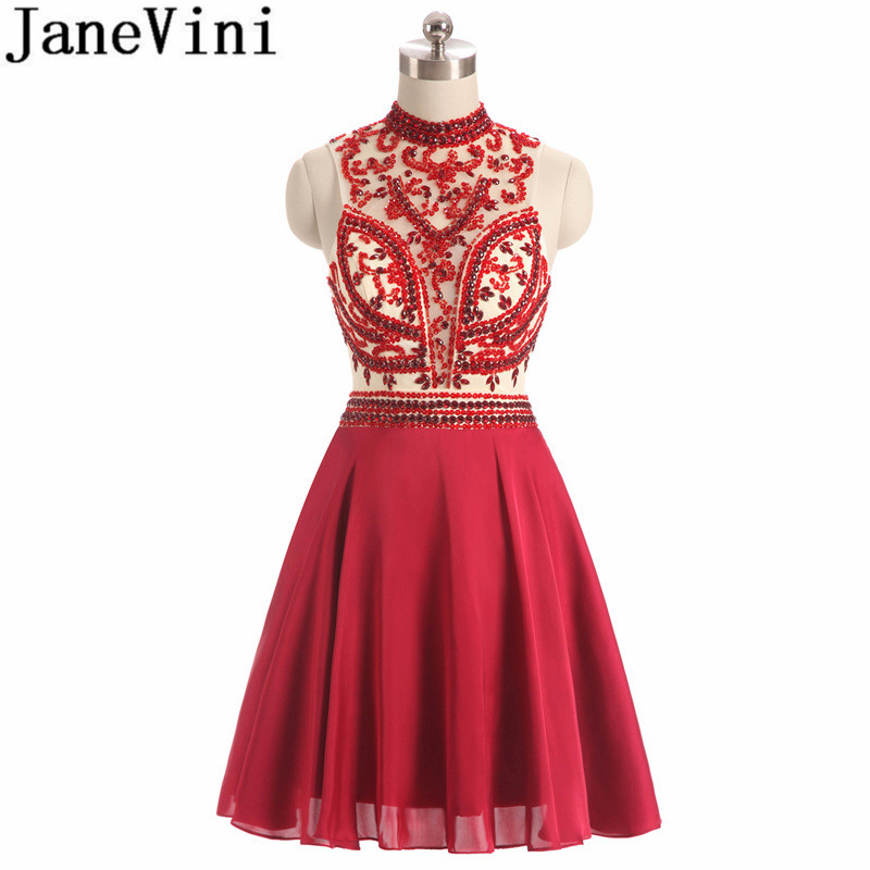 JaneVini Luxury Beaded High Neck Homecoming   Dresses   2018 Crystal Red   Bridesmaid     Dresses   Short Chiffon Formal   Dress   Wedding Party