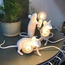 Художественная Милая Белая Настольная лампа с мышкой, крысой, Черное золото, животное, крыса, стол с мышкой, лампа, освещение, детский подарок, украшение комнаты, милый светодиодный ночник