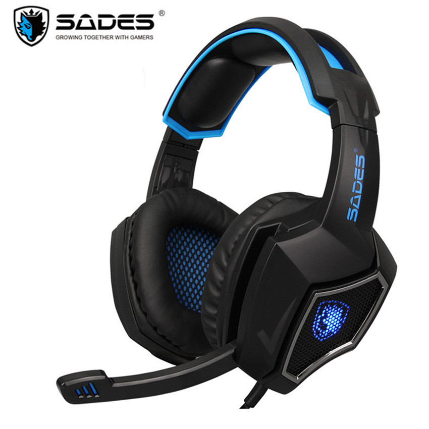 Sades Spirit Wolf Headset Gamer Over-ear Computer Gaming Headphones with Microphone Led Light for PC Game Headsets Bass Earphone 2017 top game headphones professional headset super bass over ear gaming with microphone stereo headphones for gamer pc computer