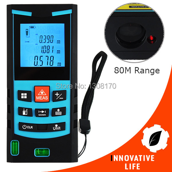 Digital Laser Meter 80M Range Finder with Bubble Level Measure Area Volume Pythagoras Meter Feet Inches Units Construction Tool laser range finder 40m 60m 80m 100m digital laser distance meter tape area volume angle engineer measure construction tools