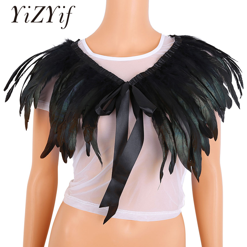YiZYiF Shawl Fashion Iridescent Rooster Hackle Natural Feather Cape Stole Collar with Ribbon Ties for Costume Decoration