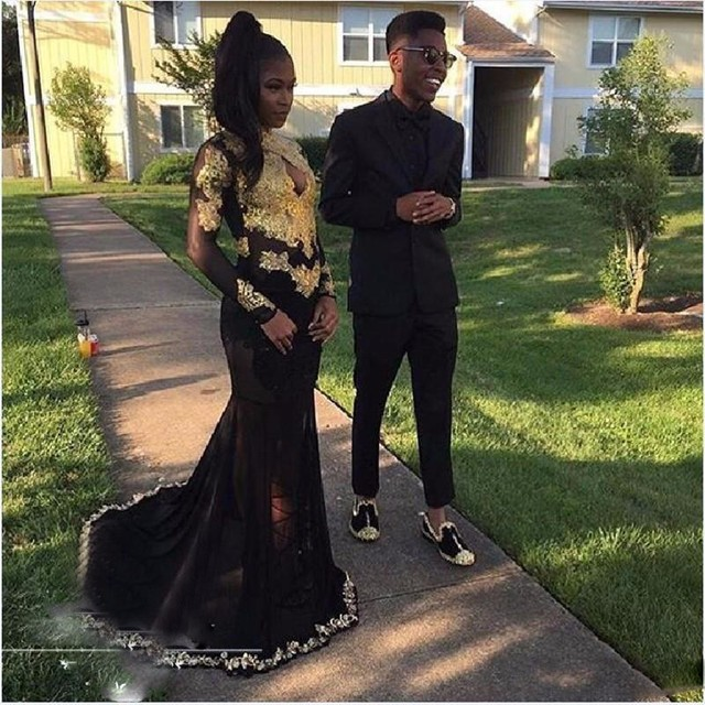 495134672095 Gold And Black Mermaid Prom Dresses High Neck Long Sleeves Beautiful Golden  Lace Floor Length Formal Prom Evening Gowns