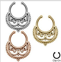 2015 Belly Button Rings 6 Pcs Fake Nose Ring Cheater Clip On Septum For Clicker Non