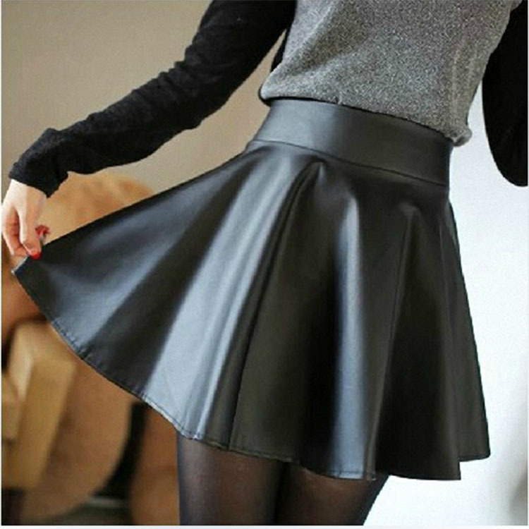 2015 Women Winter Leather Skirts  Fashion Plus Size High Waist Pleated Skirts Saia Hot Sale