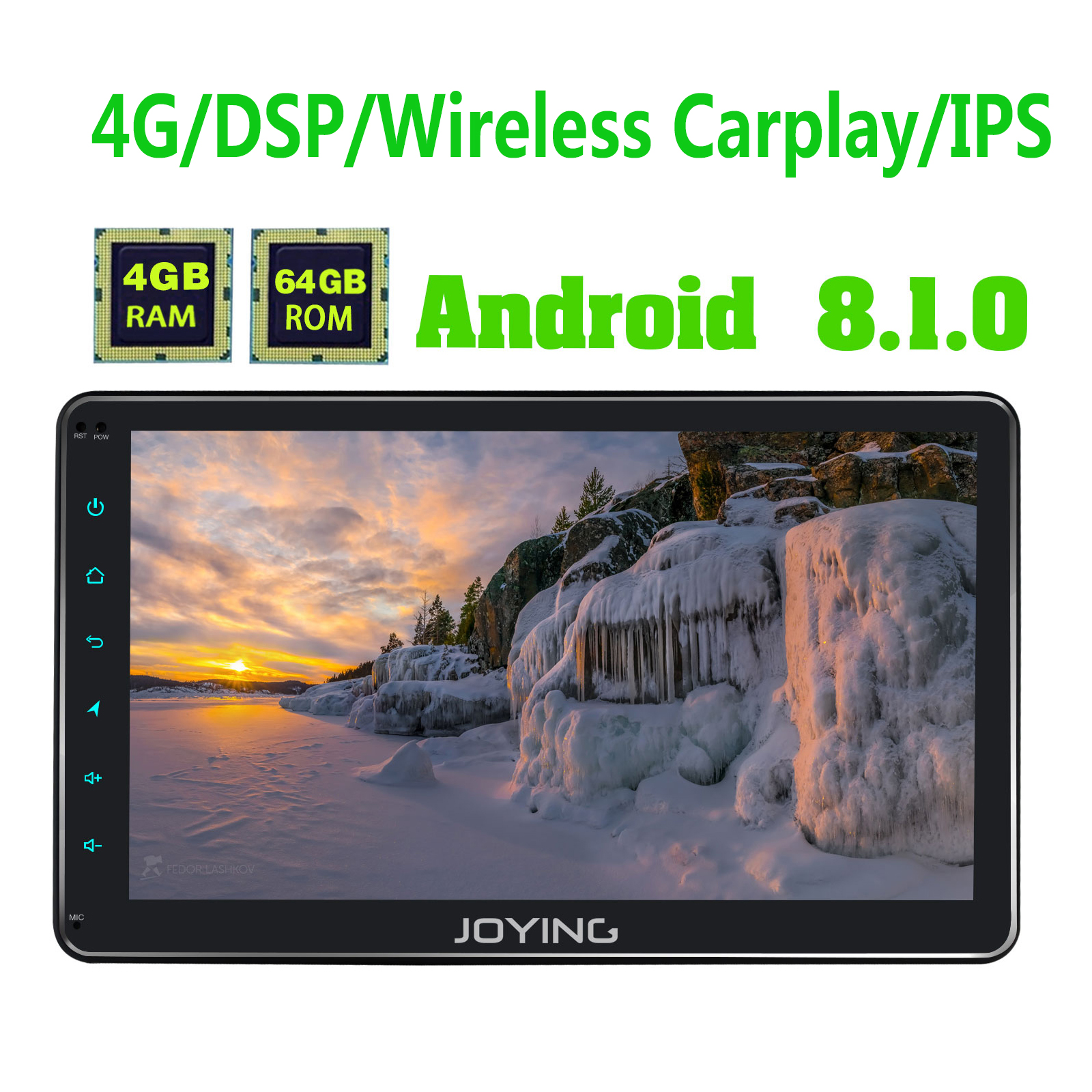 JOYING single din car radio 4GB RAM Android 8 1 GPS 4 64GB 10 1 IPS