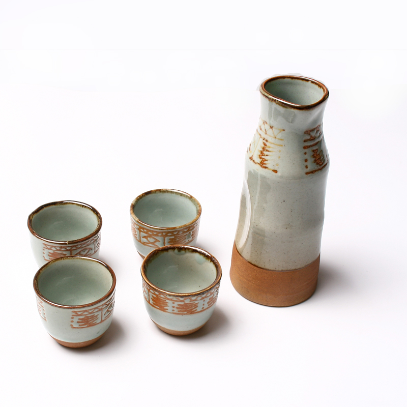 Handmade Vintage Porcelain Japanese Stoneware Sake Set Oracle Bones Tradisonal Whisky Flask Hand Painted Pottery Wine Cup