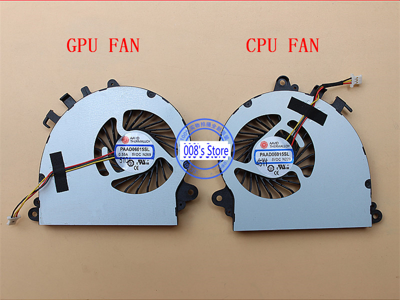Brand New Laptop CPU GPU Cooler Fan For <font><b>MSI</b></font> GS70 <font><b>GS72</b></font> MS-1771 MS-1773 AAVID PAAD06015SL-N184 5VDC 0.55A PAAD06015SL N269 N229 image