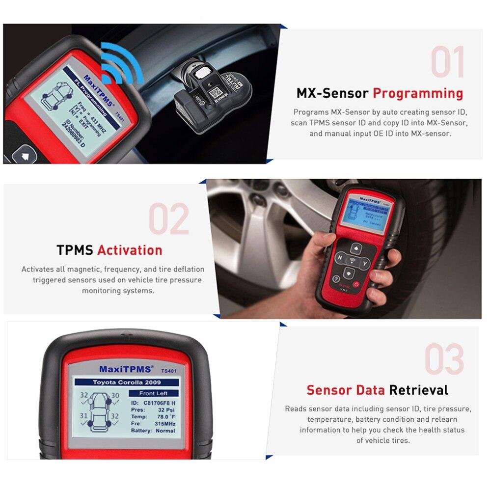 Image 4 - Autel MaxiTPMS TS401 инструмент мониторинга состояния шин OBD2 сканер активировать сканирование TPMS сенсор копия OE ID датчик Mx Программирование autel TPMS mx сенсор
