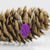 1pc Lot Synthetic 11 13mm Op54 Hand Hamsa Opal Jewelry S925 Silver Sterling Box Chain