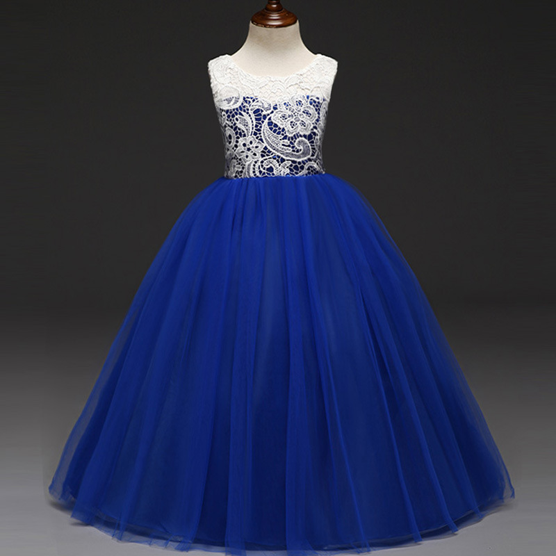 2018 Years Kids Dress for Girls Wedding Tulle Lace Long Girl Dress Elegant Princess Party Pageant Formal Gown for Teen Children children girls dress spring autumn kids children party wedding long sleeve princess ball gown girl dress 4 6 8 10 12 13 years