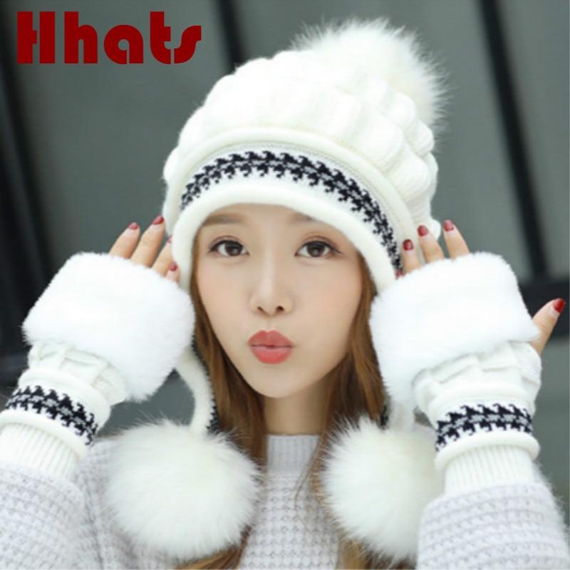 Faux Fur Winter Hat Gloves Sets Solid Thick Warm Earflap Women Cap Gloves Set Fashion Outdoor Windproof Ear Flap Beanie Bonnet